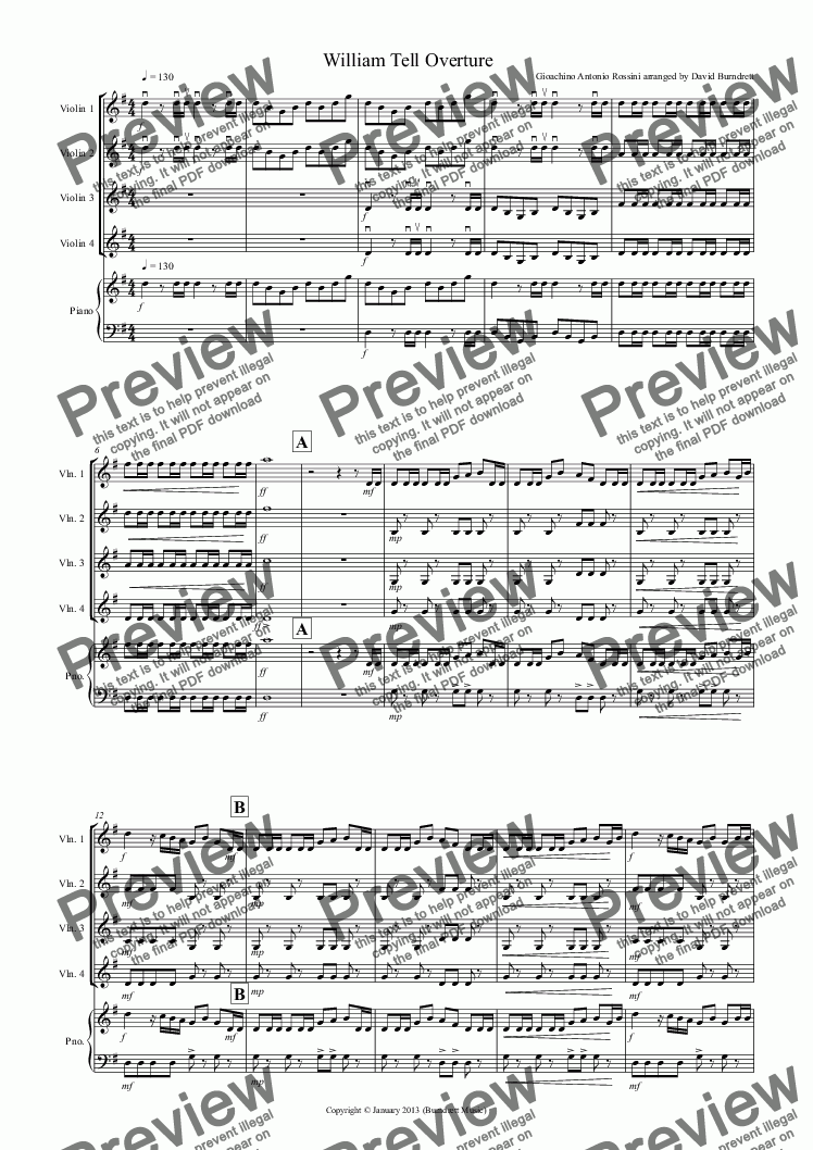 page one of William Tell Overture for Violin QuartetASALTTEXT