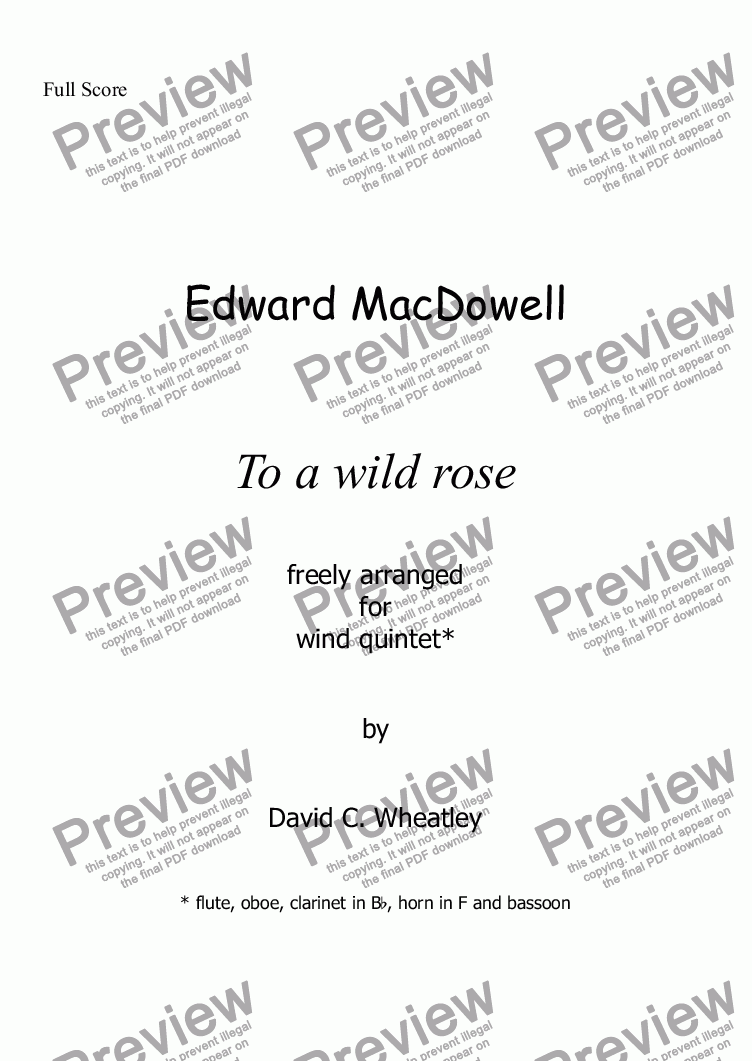 page one of To a wild Rose (MacDowell) for wind quintet