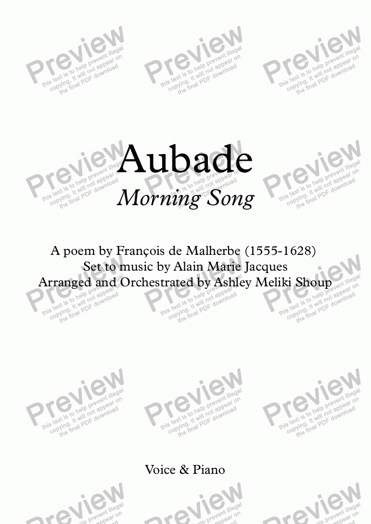 page one of Aubade (Alain Jacques / Malherbe)