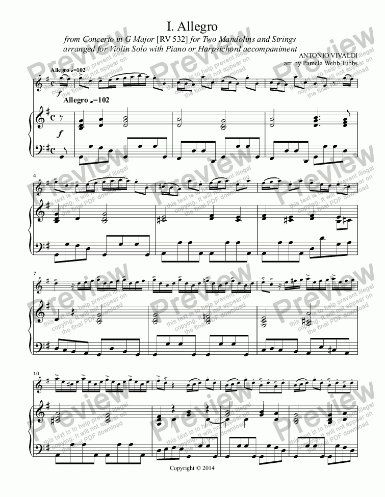 page one of Allegro 1 (VIVALDI) from Mandolin Concerto in G Major [RV 532] for Solo Violin with Harpsichord (or piano) accompaniment, arr. by Pamela Webb Tubbs