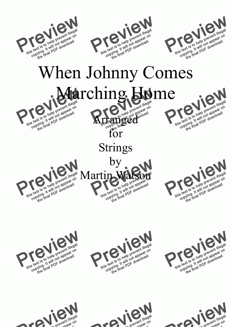 page one of When Johnny Comes Marching Home for Strings
