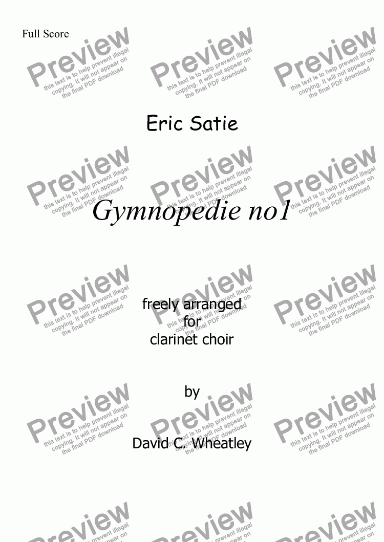 page one of Gymnopedie no1 (Satie) for clarinet choir