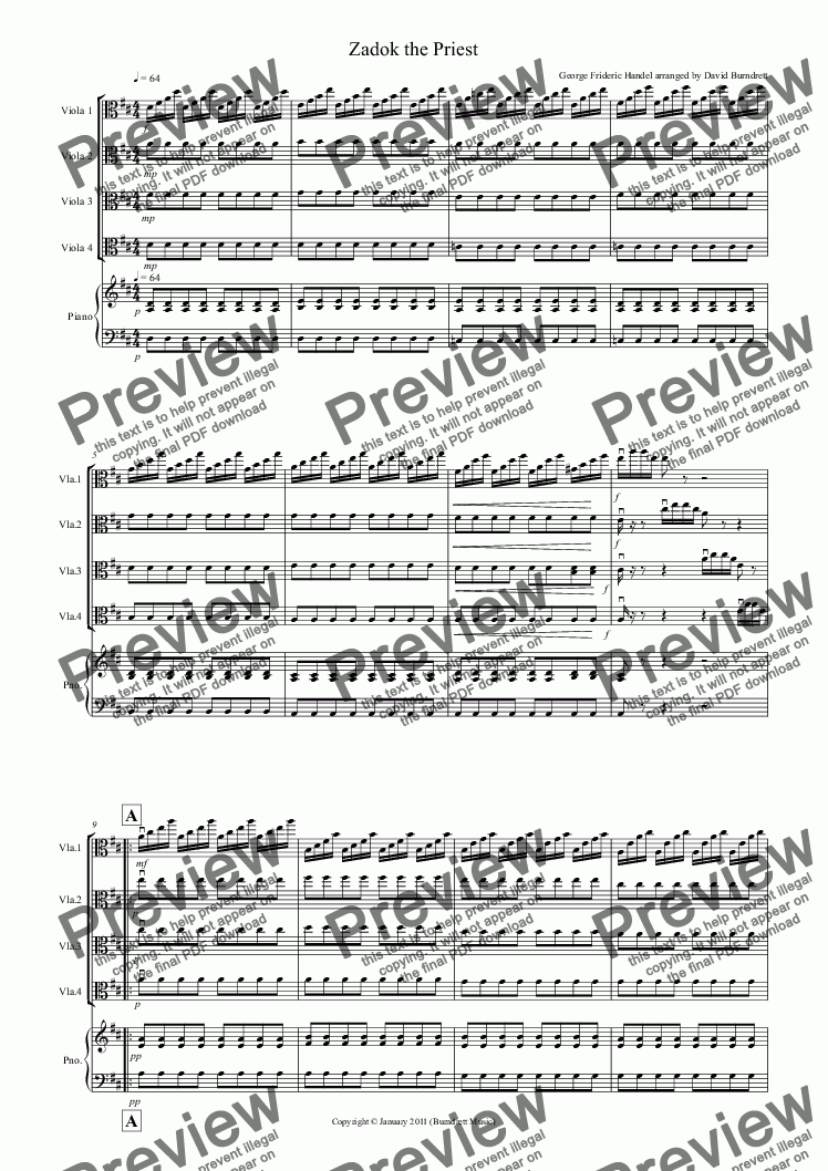 page one of Zadok the Priest for Viola Quartet