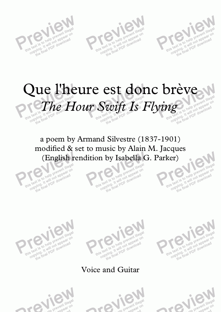 page one of Que l'heure est donc brève (A. Jacques / A. Silvestre) Alternative English