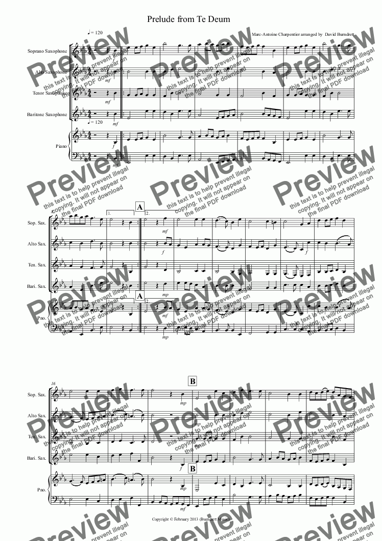 page one of Prelude from Te Deum for Saxophone QuartetASALTTEXT