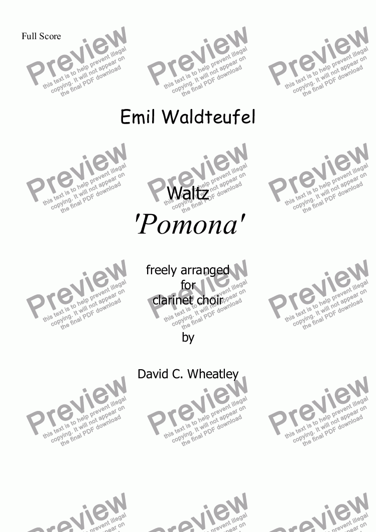 page one of Waldteufel - Waltz 'Pomona' for clarinet choir