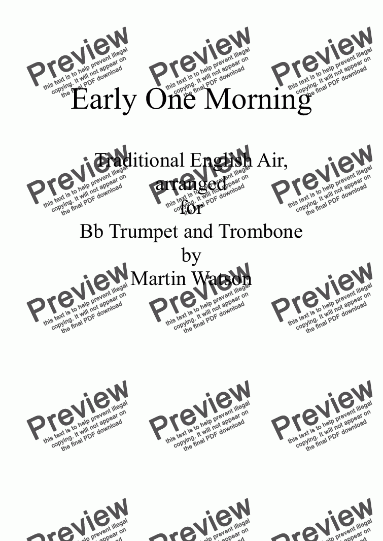 page one of Early One Morning for Bb Trumpet and TromboneASALTTEXT