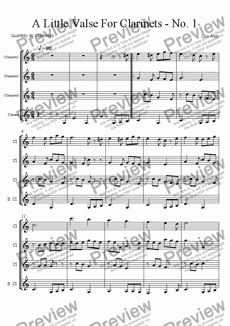 page one of A Little Valse For Clarinets - No. 1