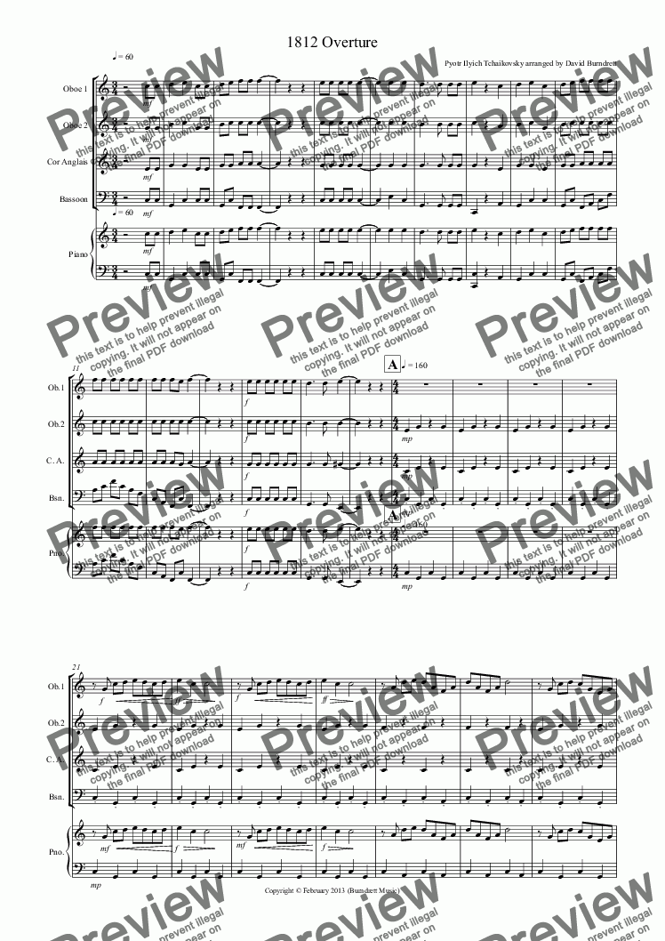 page one of 1812 Overture for Double Reed Quartet
