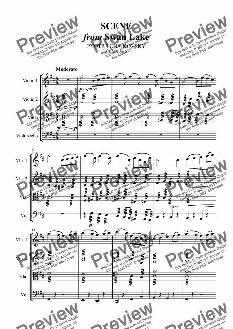 page one of Scene from Swan LakeASALTTEXT