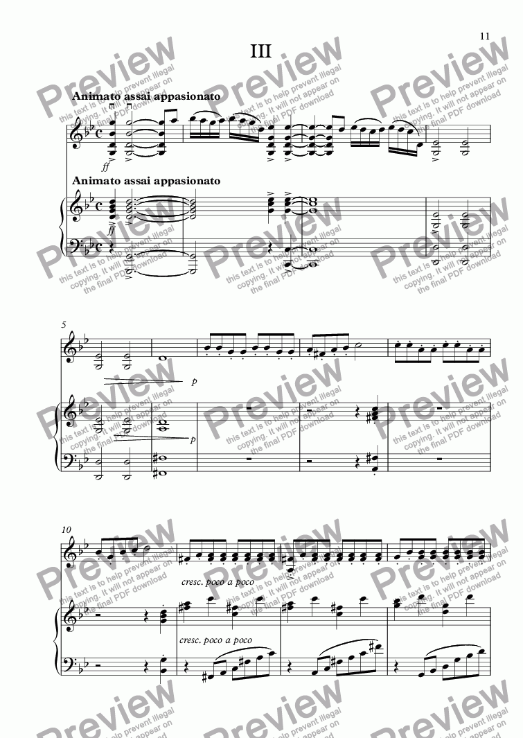 page one of Violin Sonata #2: Part III