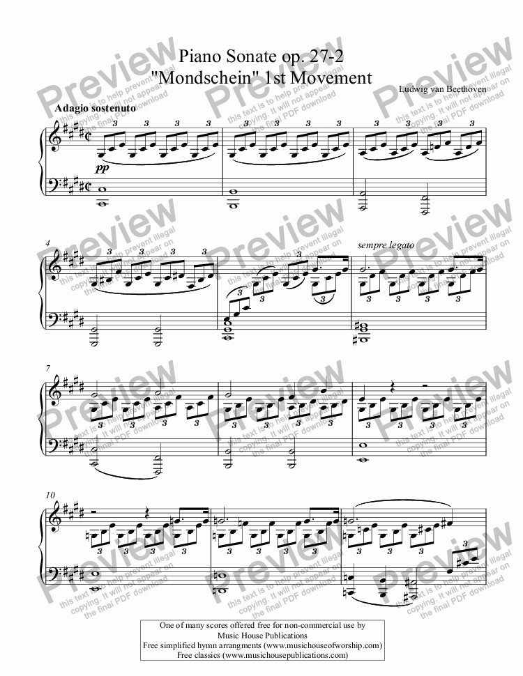 "page one of Beethoven - Piano Sonate op. 27-2  ""Mondschein"" 1st Movement"