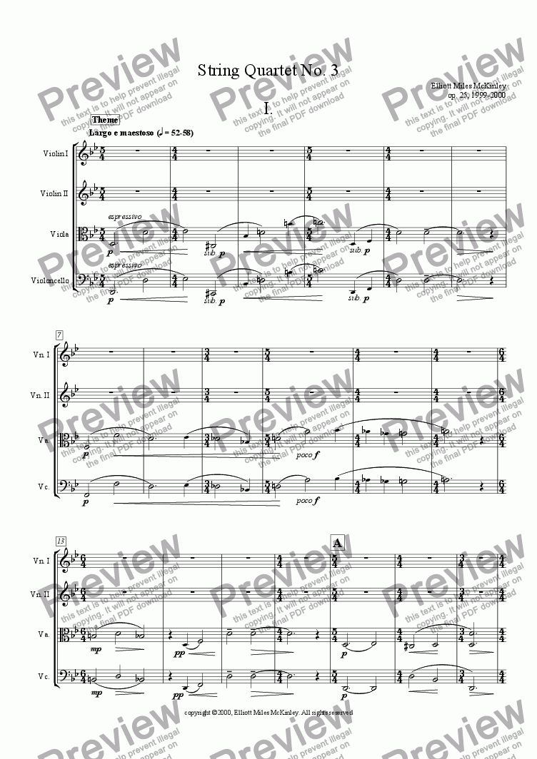page one of String Quartet No. 3