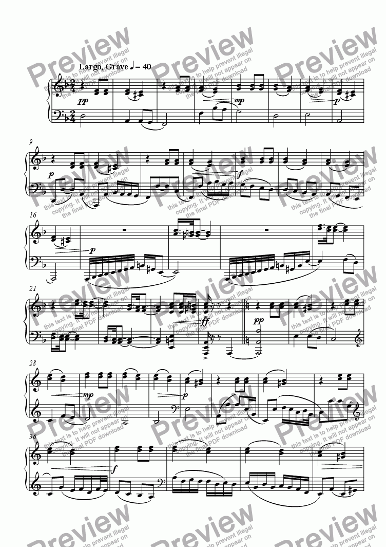 "page one of Sonata No. 1 ""II: Largo, Grave"""