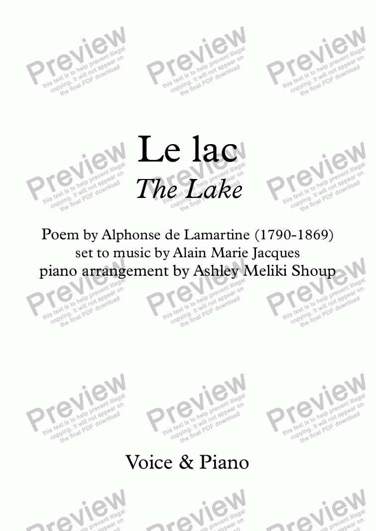 page one of Le Lac (Alain Jacques / Lamartine)