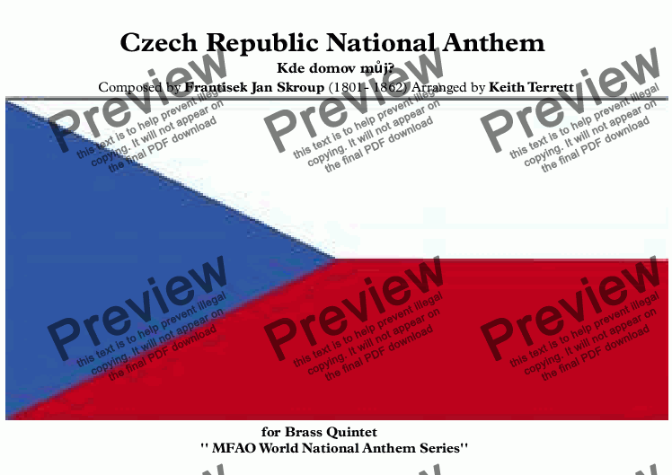 page one of Czech Republic National Anthem for Brass Quintet (MFAO World National Anthem Series)