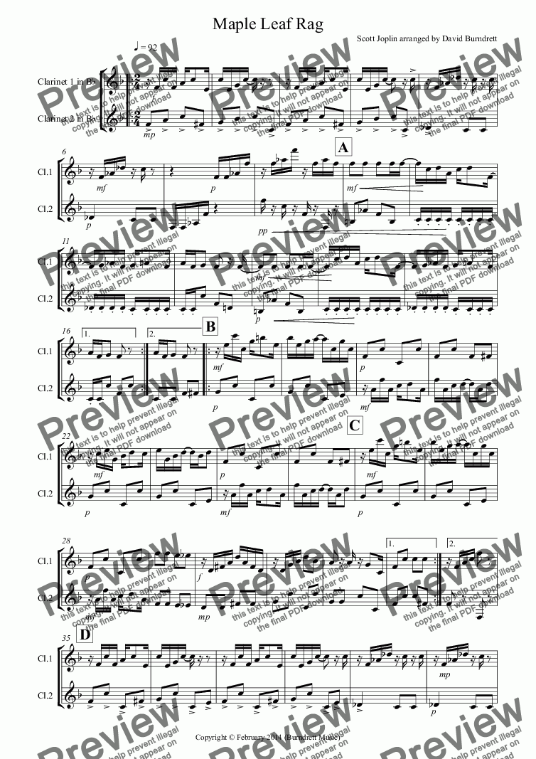 page one of Maple Leaf Rag for Clarinet DuetASALTTEXT