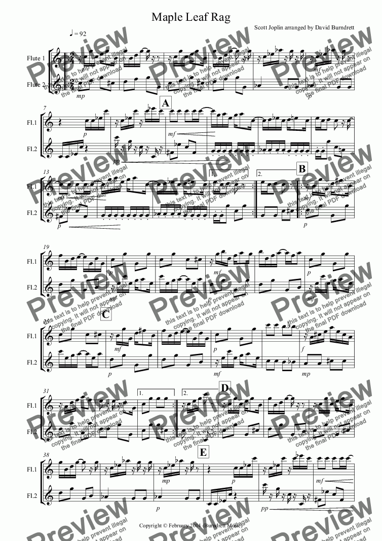 page one of Maple Leaf Rag for Flute Duet