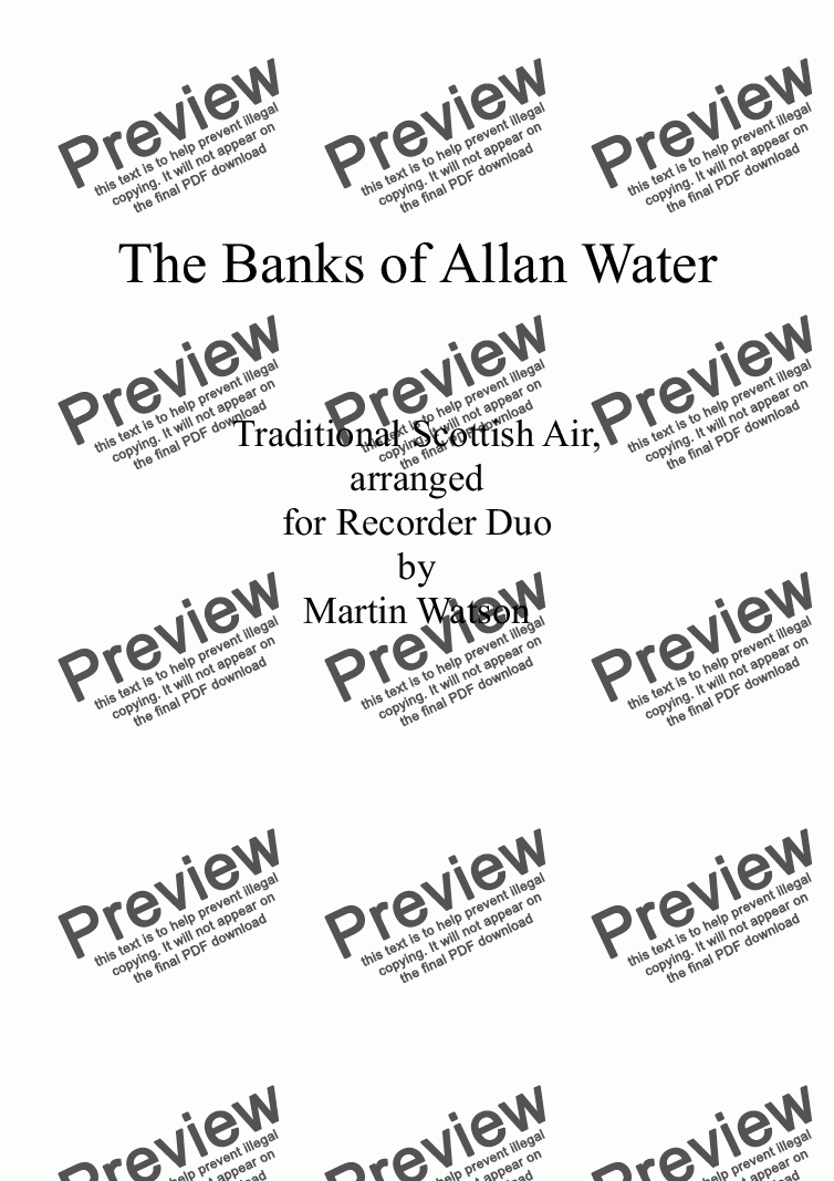 page one of Banks of Allan Water, The; for Recorder Duet
