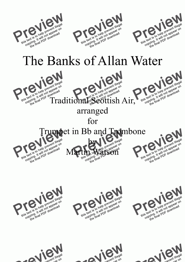 page one of Banks of Allan Water, The; for Bb Trumpet and Trombone.