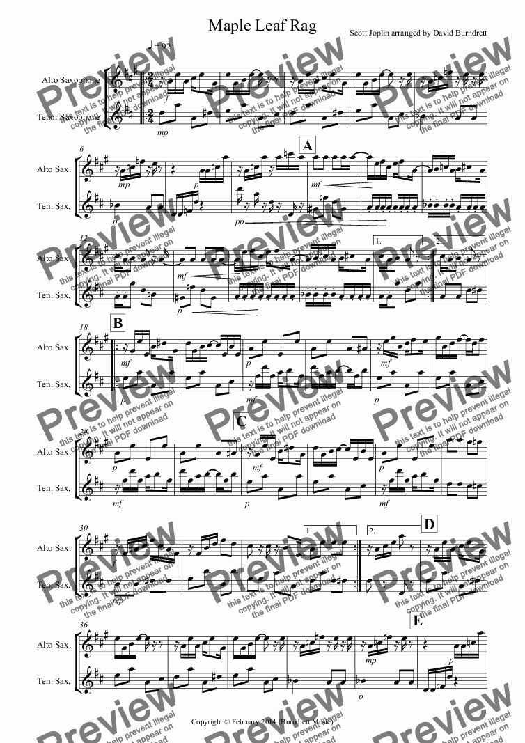 page one of Maple Leaf Rag for Alto and Tenor Saxophone DuetASALTTEXT