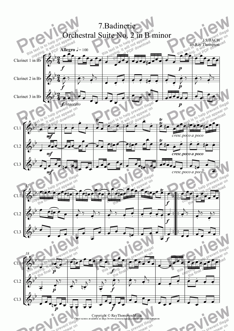 page one of Orchestral Suite No.2 in B minor BWV1067: 7.Badinerie (Clarinet Trio)ASALTTEXT