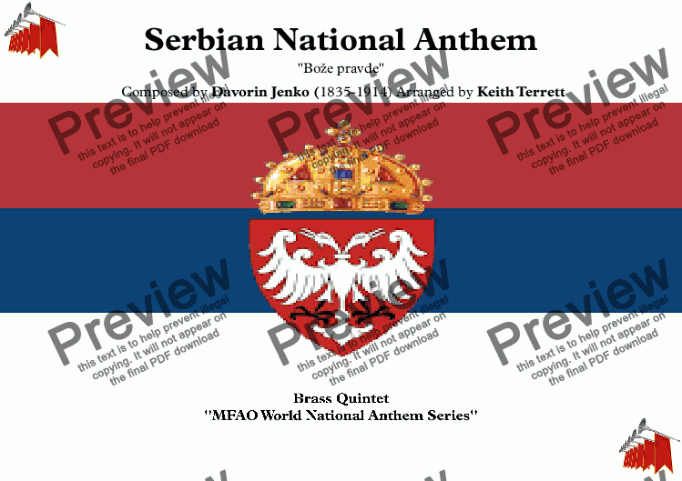 page one of Serbian National Anthem for Brass Quintet (MFAO World National Anthem Series)