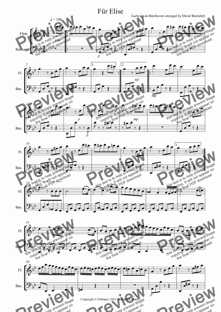 page one of Für Elise for Flute and Bassoon DuetASALTTEXT