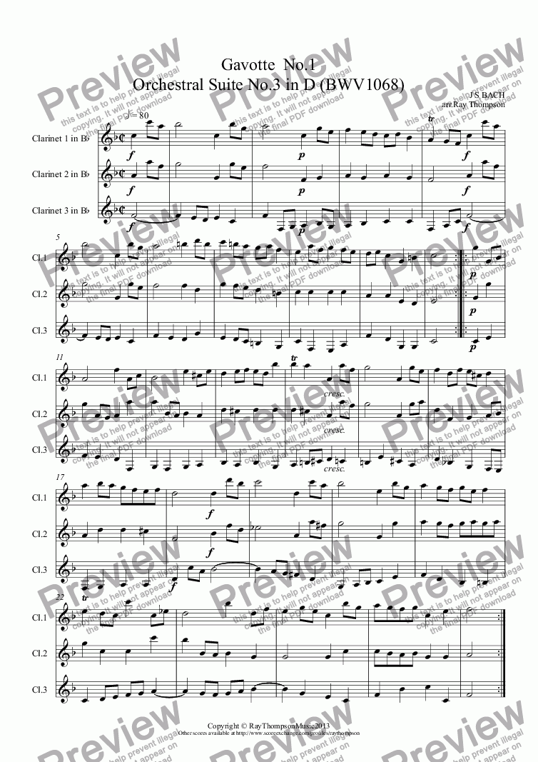 page one of Orchestral Suite No.3 in D BWV1068: 3.Gavotte No.1  (Clarinet Trio)