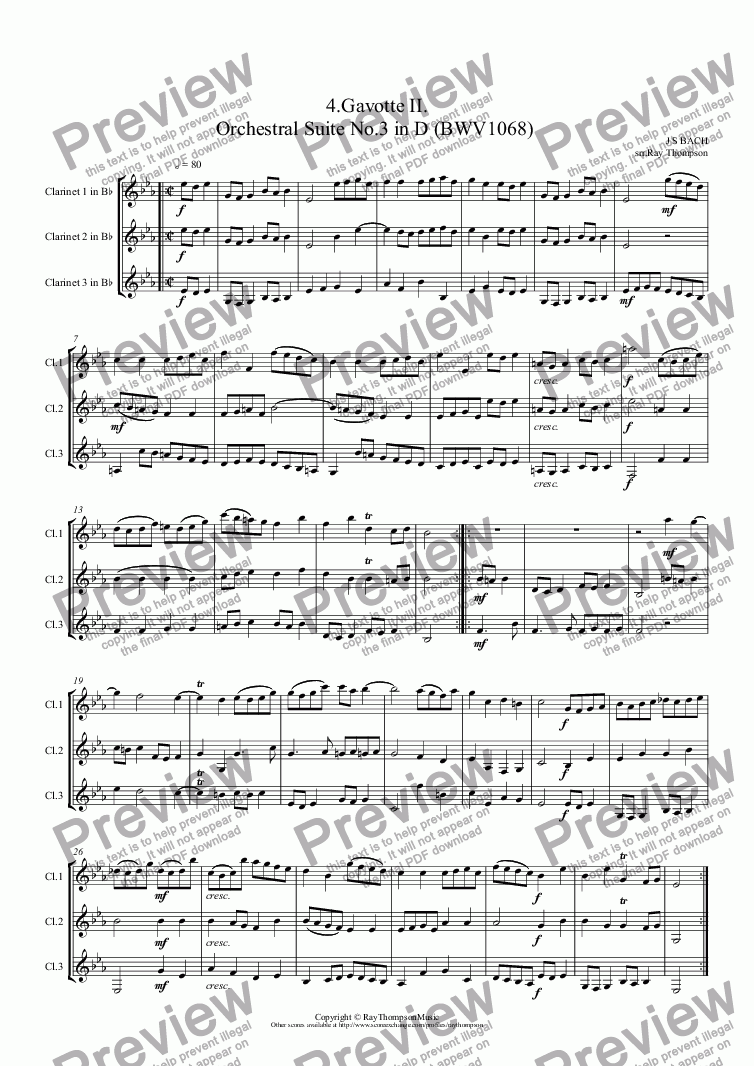 page one of Orchestral Suite No.3 in D (BWV1068): 4.Gavotte  II. (Clarinet Trio)ASALTTEXT