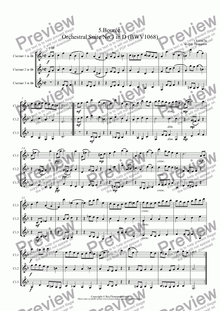 page one of Orchestral Suite No.3 in D (BWV1068): 5.Bourée . (Clarinet Trio)