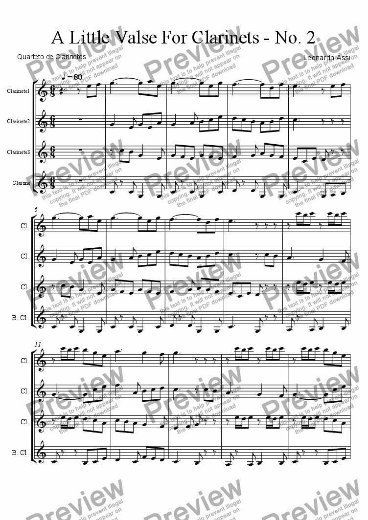 page one of A Little Valse for Clarinets - No. 2