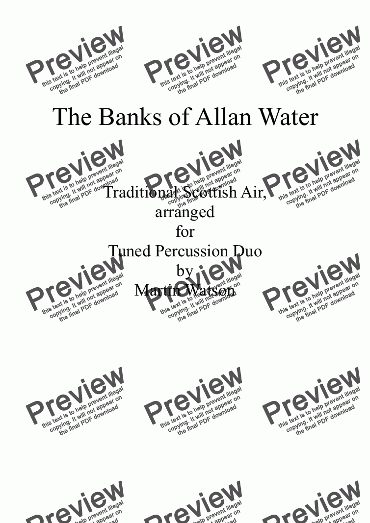 page one of Banks of Allan Water, The; for Tuned Percussion Duo.