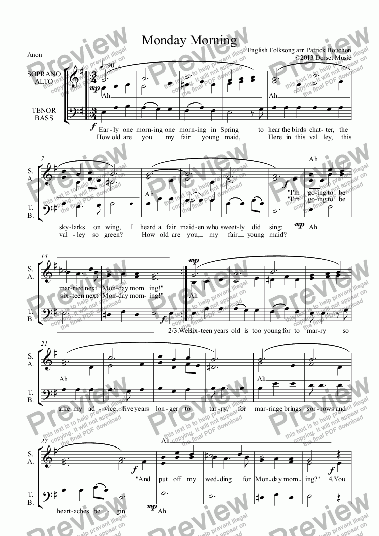 page one of Monday Morning (3-part Choir SAB)ASALTTEXT