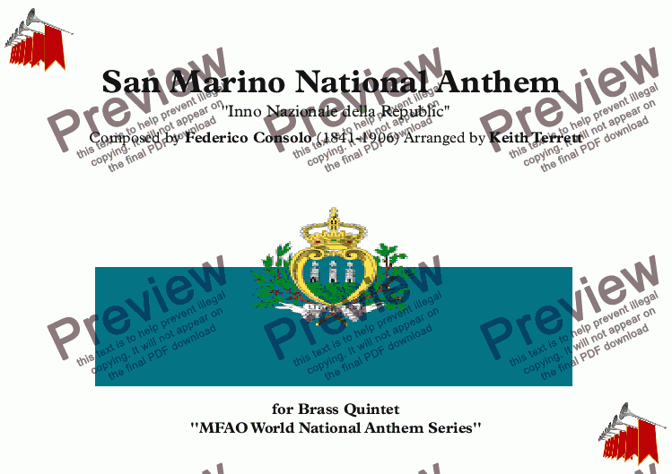 page one of San Marino National Anthem for Brass Quintet (MFAO World National Anthem Series)ASALTTEXT