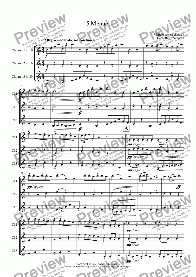 page one of Bach arr. MacDowell: 5. Menuet from 6 Little Pieces (after sketches of J.S.Bach)(Anna Magdalena Notebook)(Clarinet Trio)