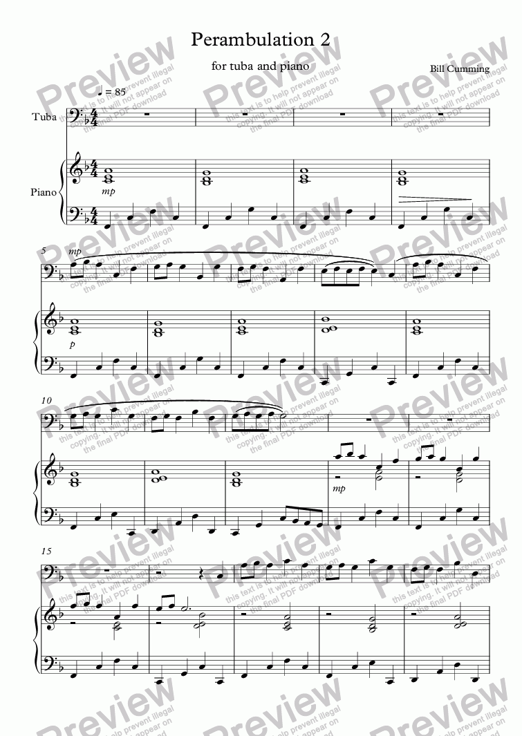 page one of Perambulation 2 for Tuba & Piano