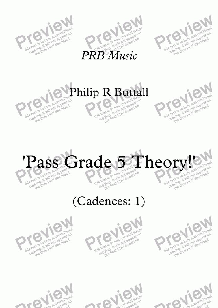 Worksheet Pass Grade 5 Theory Cadences 1 Sheet Music