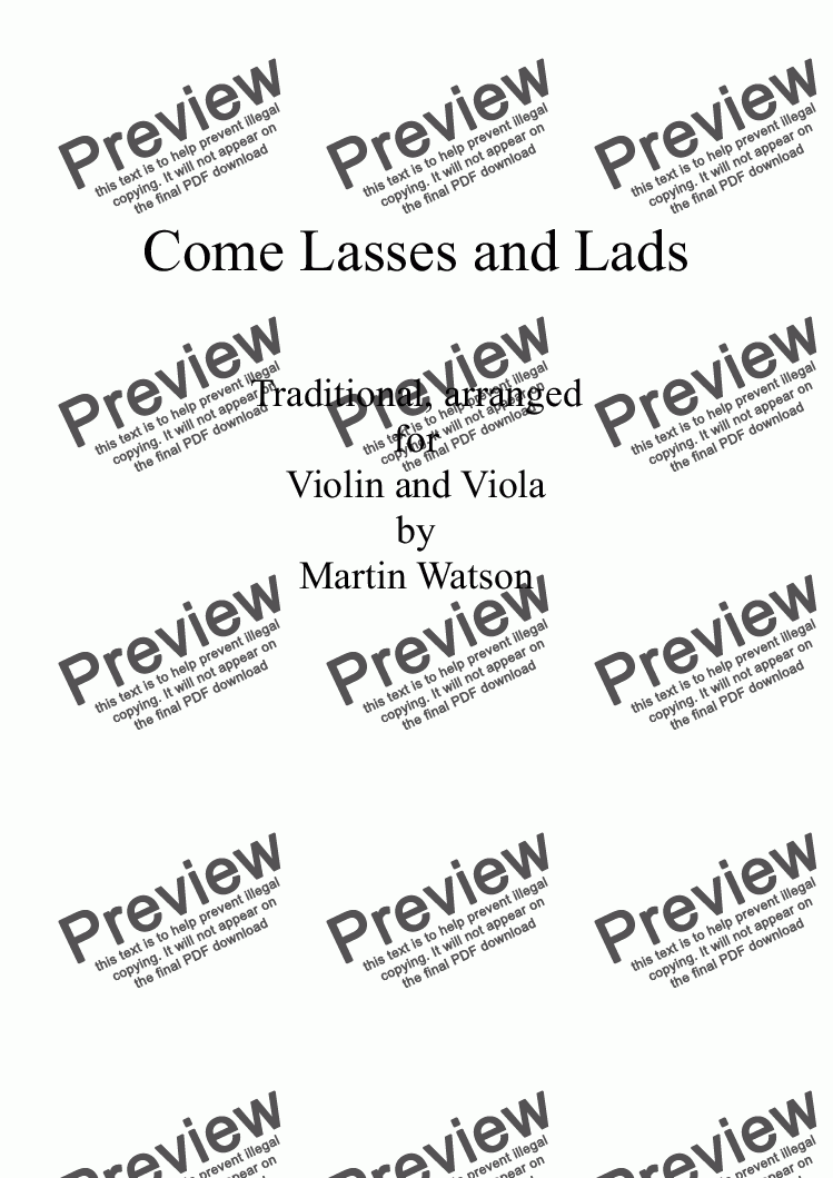 page one of Come Lasses and Lads for Violin and Viola.ASALTTEXT