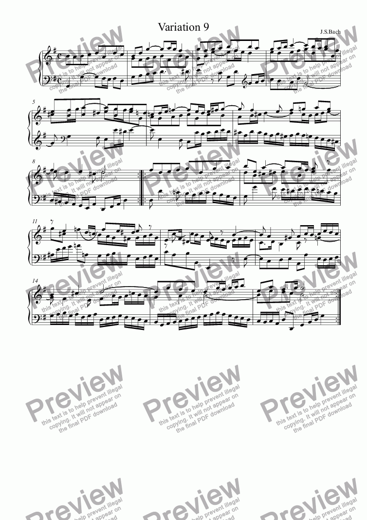 page one of J.S.Bach - Goldberg Variations 09