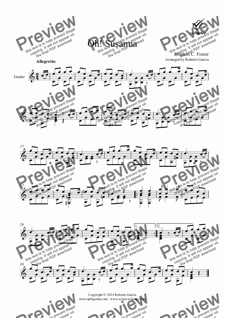 page one of Oh! Susanna for solo guitar