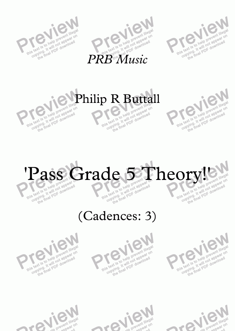 page one of Worksheet: 'Pass Grade 5 Theory!' - Cadences 3ASALTTEXT