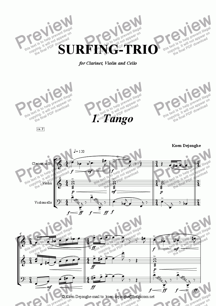 "page one of ""Tango from Surfing Trio for violin, clarinet and cello"""