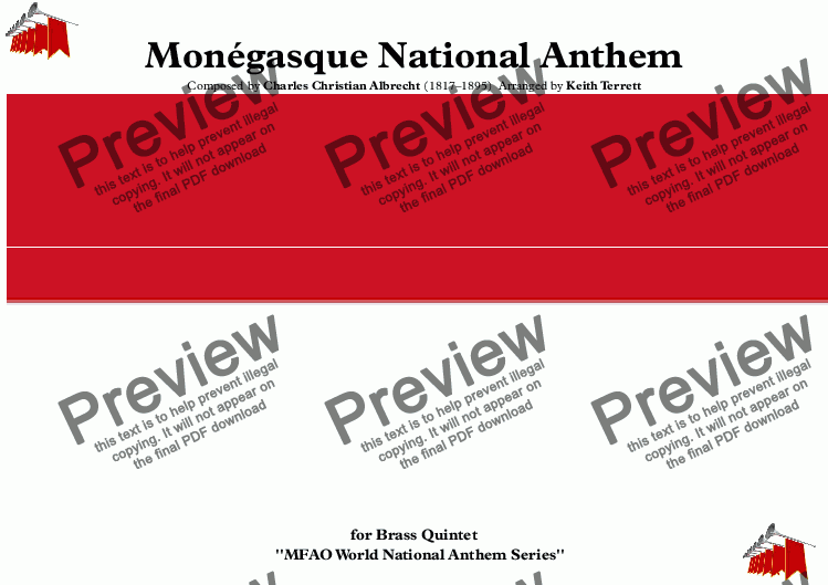 page one of Monégasque National Anthem (Monaco) for Brass Quintet (MFAO World National Anthem Series)