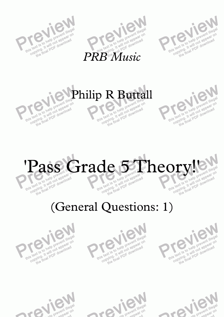 page one of Worksheet: 'Pass Grade 5 Theory!' - General Questions 01ASALTTEXT