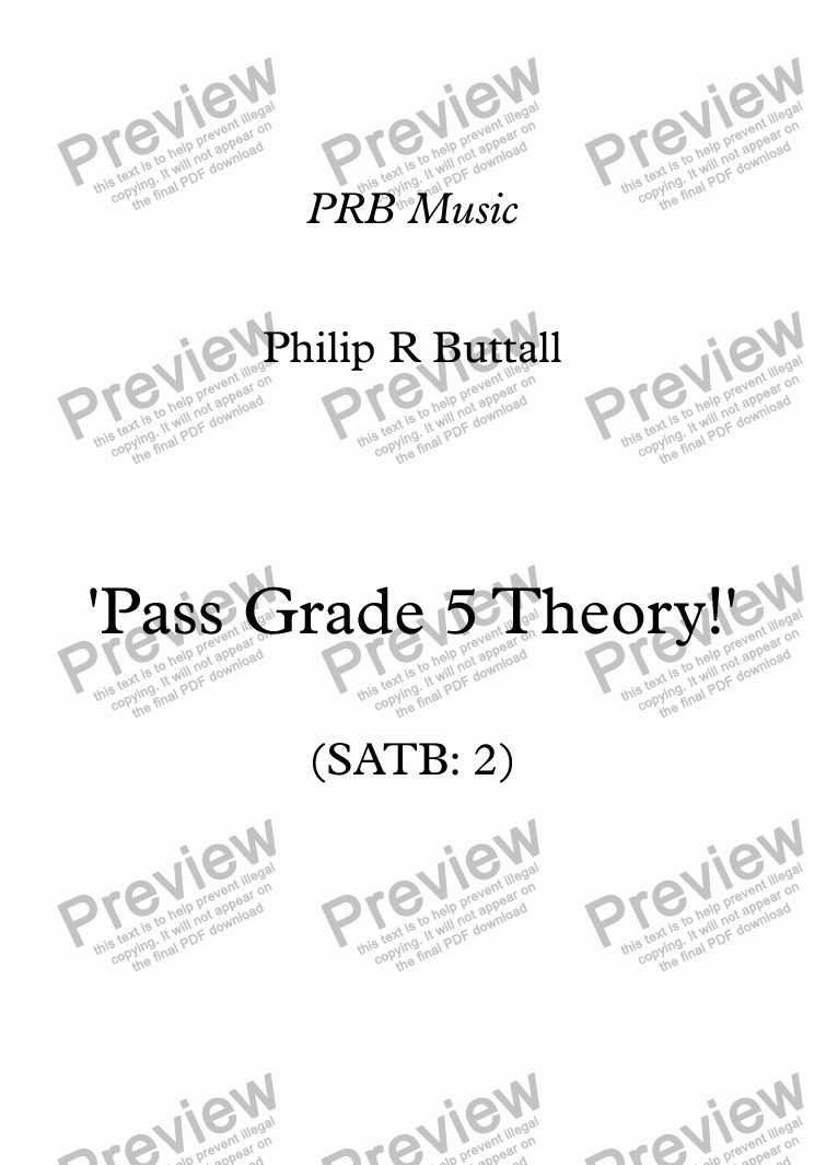 page one of Worksheet: 'Pass Grade 5 Theory!' - SATB 2 (up to end 2017)