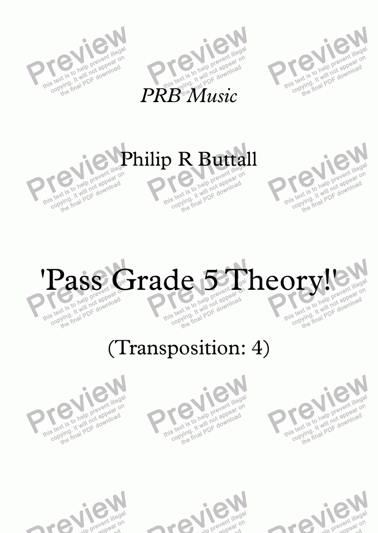 page one of Worksheet: 'Pass Grade 5 Theory!' - Transposition 4ASALTTEXT