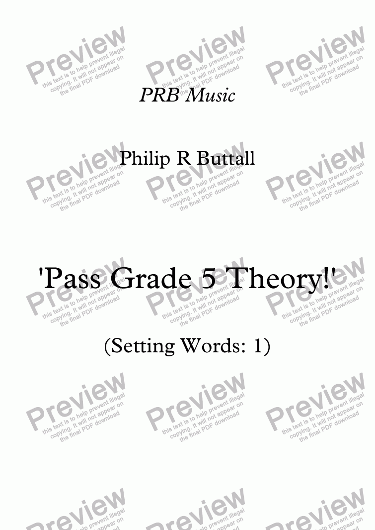page one of Worksheet: 'Pass Grade 5 Theory!' - Word-setting 1 (up to end 2017)