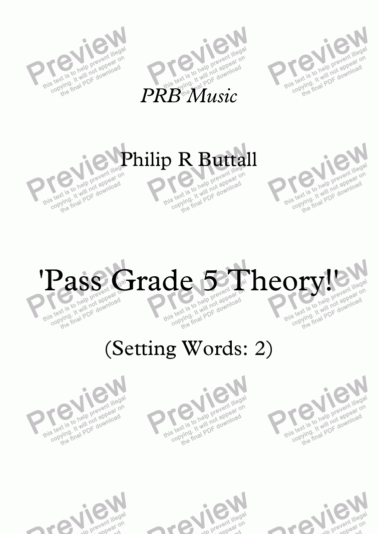 page one of Worksheet: 'Pass Grade 5 Theory!' - Word-setting 2 (up to end 2017)
