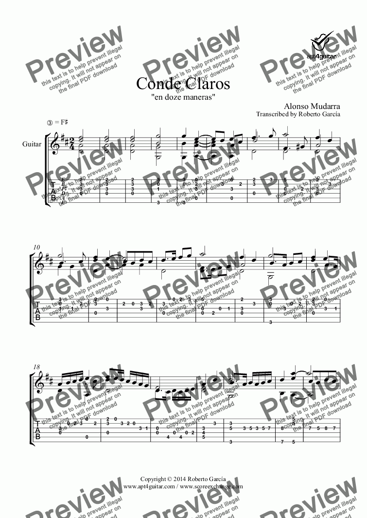 page one of Conde Claros for solo guitar